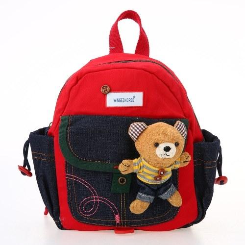 Детские школьные сумки Anti-lost рюкзак Холст детский сад Школьные сумки с ремнями безопасности и плюшевые игрушки Red