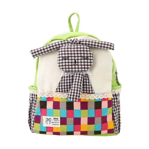 Kids School Bags Backpack Canvas Cute Cartoon Rabbit Children Kindergarten Primary Schoolbags Rose