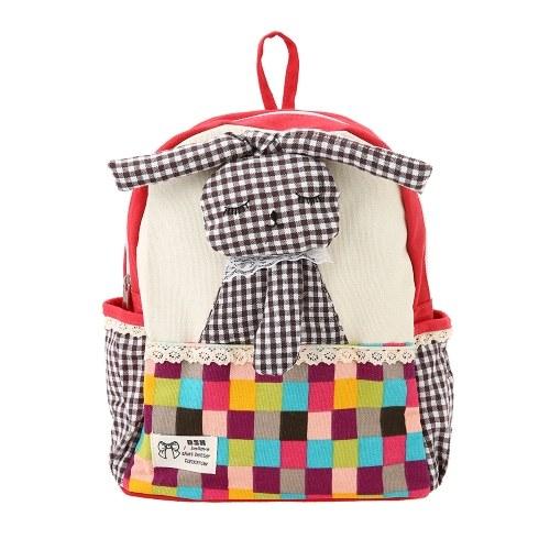 Детские школьные сумки Рюкзак Холст Смазливая мультфильм Кролик Дети Детский сад Первичные школьные сумки Роза фото