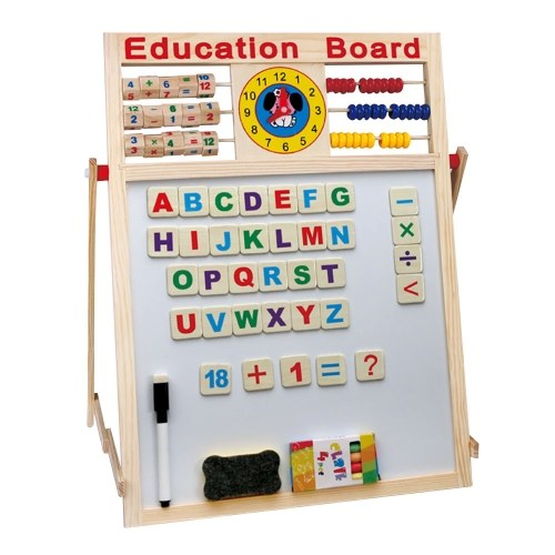 Magnetic Wooden Double Side Drawing Writing Board With Stand Puzzle Game Toy Set