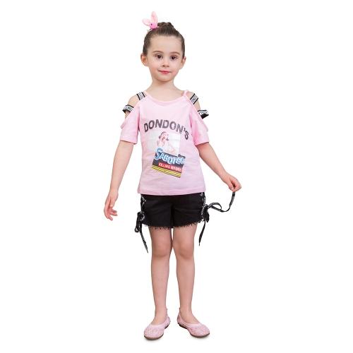 Filles Chemises + Shorts D'été Mode Lettres Off-épaule Tee Enfants Gilet Pantalon Enfants Vêtements Set Pour 3-8T Rose