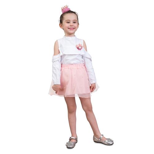 2szt Girls Dress Summer Off-Shoulder Tee Shirts Gauze Pricess Spódnice Kids Clothing Set For 3T Pink