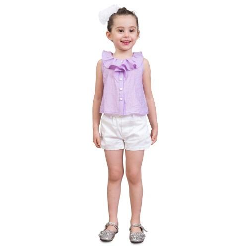 d0ba07694 Niñas Camisas + Shorts Moda de verano con volantes Collar sin mangas Tee  Niños Chaleco Pantalones