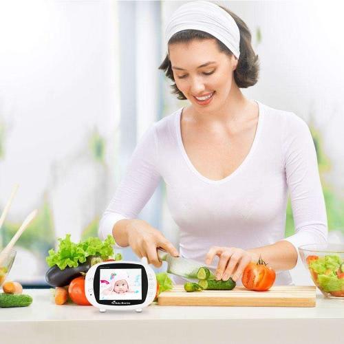 Видео Baby Monitor Детская камера безопасности с 3,5-дюймовым TFT LCD 2-Way Talkback 2.4GHz Цифровая инфракрасная система контроля температуры в ночном видении Колыбельные CE и FCC Approved White