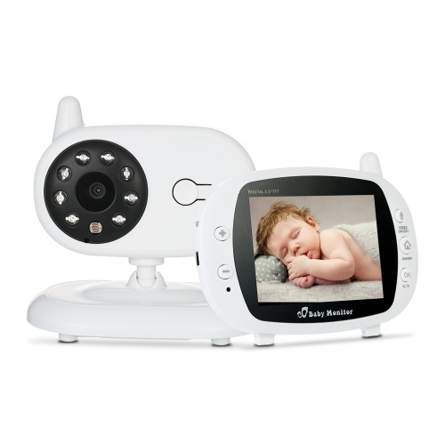 Video Baby Monitor Baby Security Camera With 3.5'' TFT LCD 2 Way Talkback 2.4GHz Digital Infrared Night Vision  Temperature Monitoring System Lullabies CE & FCC Approved White