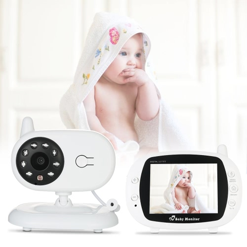 Video Baby Monitor Baby Sicherheitskamera mit 3,5 '' TFT LCD 2 Way Talkback 2.4GHz Digital Infrarot Nachtsicht Temperaturüberwachung System Lullabies CE & FCC Approved White