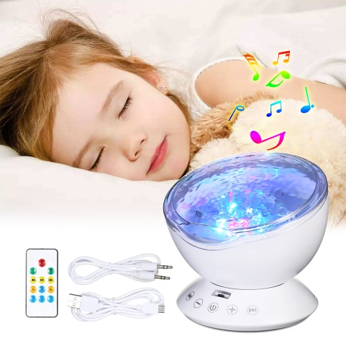 Colorido Night Night Sleep Soother Lámpara Ocean Wave Proyector Music Player Lamp
