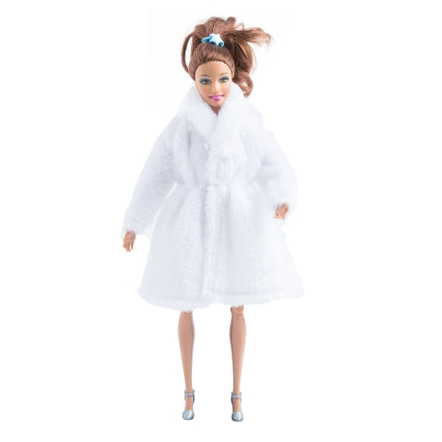 Fashion Barbie Toy Clothes Accessory Winter Plush Coat for Barbie Doll Clothes Dressing