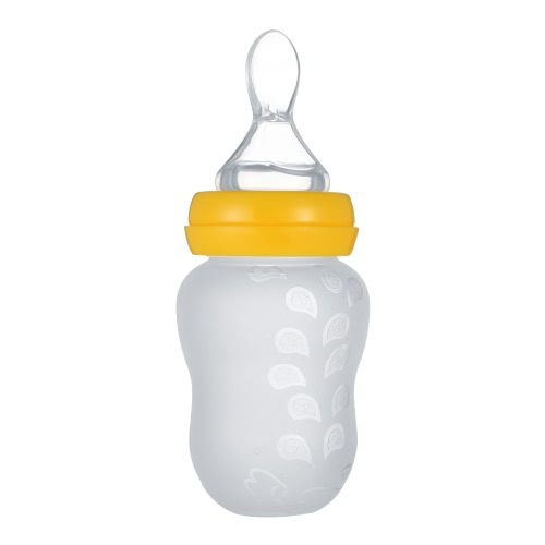 Baby Infant  Rice Paste Bottle Rice Flour Semi-solid Food Bottle Squeezing Feeding Spoon Food Grade Silicon BPA Free for   Newborn Toddler Kids Food Supplement 180ML Yellow