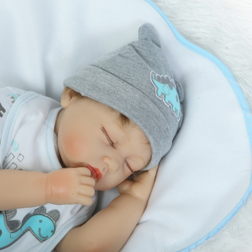 22inch Silicon Reborn Sleeping Baby Doll Eye Close With Hair Clothes Lifelike Cute Gifts Toy