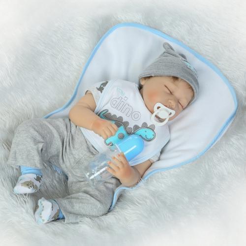 Silicon Reborn Малыш Кукла Мальчик Спящий ребенок Кукла глаз Закрыть с одеждой для волос Boneca 22inch Lifelike Cute Gifts Toy