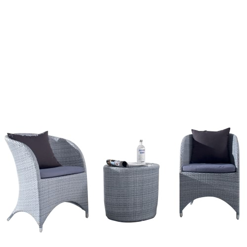 Salon de jardin en Aluminium 2 places - gris
