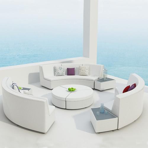 Salon de jardin RILASA : rond modulable en résine tressée Coloris Blanc Ecru