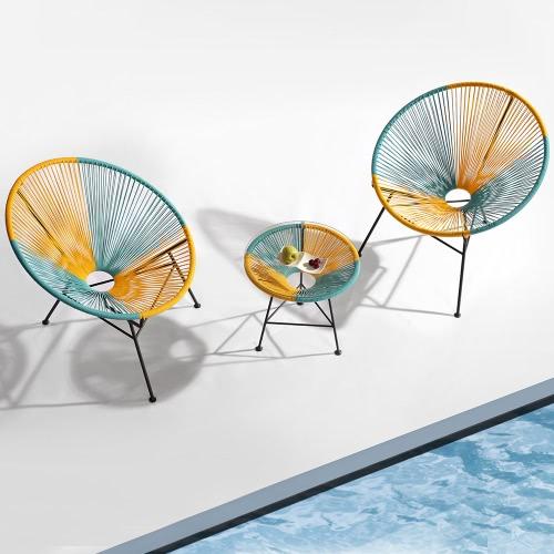 Fauteuils de jardin design avec table d'appoint - 2 coloris disponibles