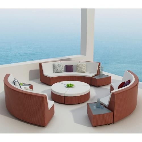 Salon de jardin rilasa rond modulable en r sine tress e coloris rouge - Salon de jardin rouge ...