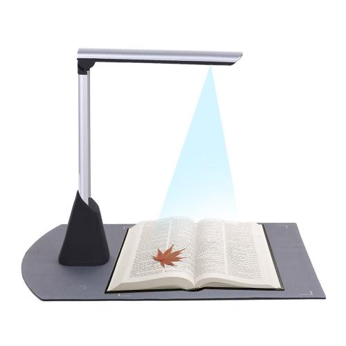 Scanner de Câmera de Documento de Imagem de Livro de Alta Velocidade Portátil 10 Mega-pixel HD High-Definition Max. Tamanho de varredura A4 com função de OCR Luz LED para sala de aula Escritório Banco de biblioteca