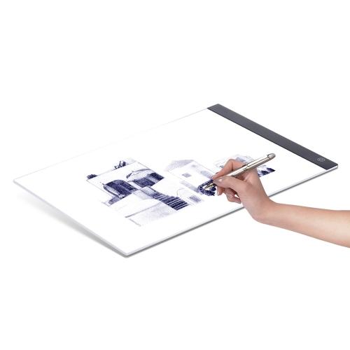 A4 Ultra-cienki przenośny LED Light Box Rysunek Tracer Table Painting Tracing Pad Copy Panel z płynną regulacją jasności Funkcja pamięci dla artysty Animacja Oglądanie promieni X Tattoo Szkicowanie Architektura Kaligrafia Stenciling