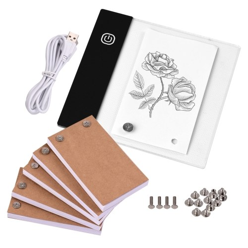 Flip Book Kit with Mini Light Pad LED Lightbox Tablet Design with Hole 300 Sheets Flipbook Paper Binding Screws for Drawing Tracing Animation Sketching Cartoon Creation
