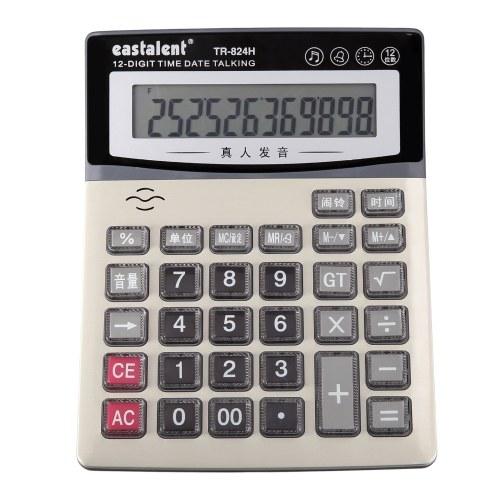 Настольный электронный калькулятор Большой ЖК-дисплей с 12 цифрами Большие кнопки с индикацией даты и времени Функция будильника Питание от батареи Ежедневно и основной инструмент финансовых расчетов для дома