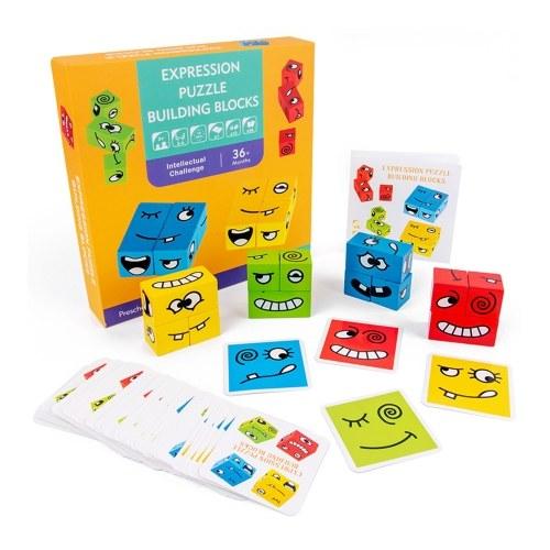 Деревянная головоломка с выражением лица меняющий лицо строительный блок Блок для тренировки логического мышления Настольная игра для родителей и детей для мальчиков и девочек от 3 лет