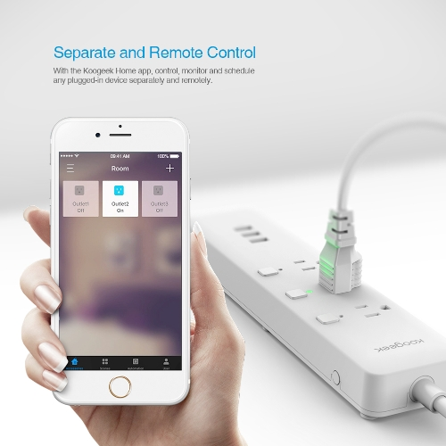Koogeek Wi-Fi Enabled Smart Outlet Surge Protector Individually Controlled 3-outlet Power Strip Works with Apple HomeKit and the Google Assistant Compatible with Alexa Support Siri/Alexa/Google Assistant Voice Control Remote Control From Anywhere Energy M