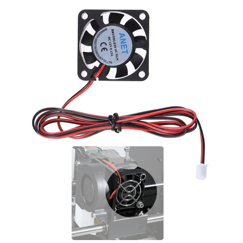 Anet 40 * 40 * 10mm DC 12V Brushless Cooling Cooler Fan 2 Wire for RepRap Prusa i3 DIY 3D Printer