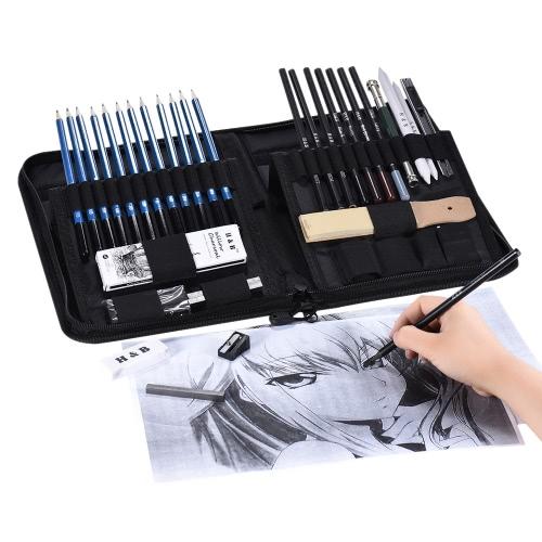 40pcs / Set Set di matite da disegno professionale con kit di abbozzo Grafite carboncino Matite Bastoni di salice Gomme di cancellatori con stand pop-up Borsa per forniture artistiche Studenti