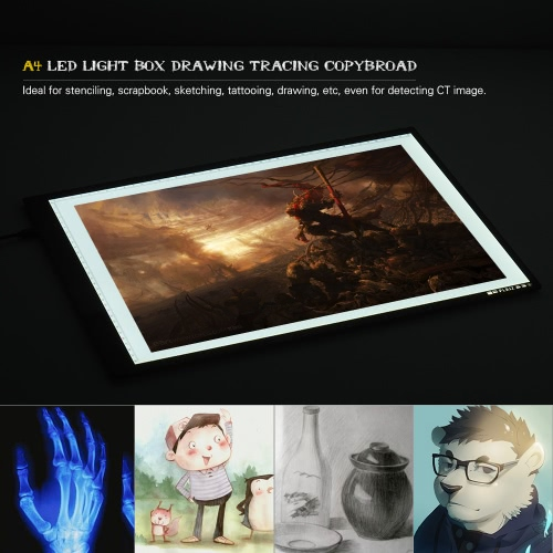 Portable A4 LED Light Box Tracer Copy Board with Memory Function Stepless  Brightness Control