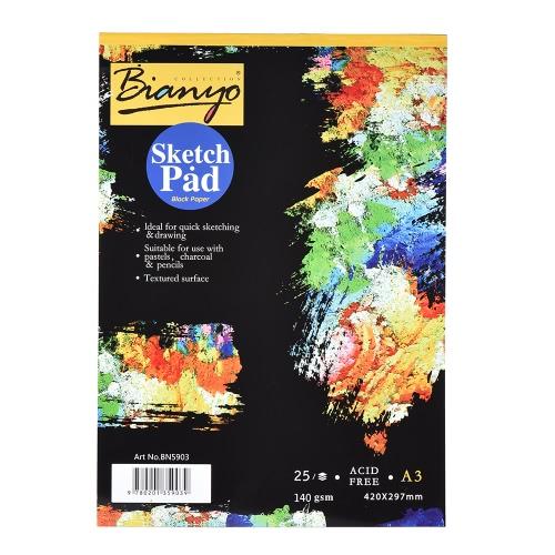 25 Folhas A3 Black Sketch Notepad Papelão Livro Livro Notebook para Pintura Desenho Graffiti Diário Criativo Presente para Crianças