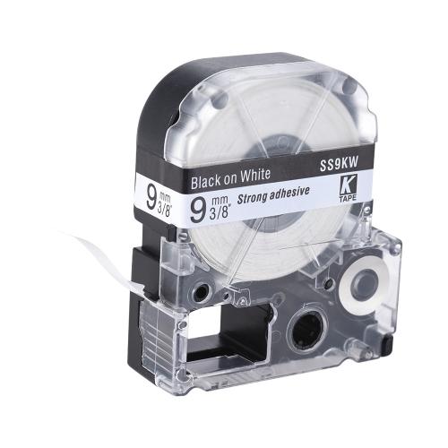 Czarna na taśmę z białą etykietą 9 mm * 8 m Kompatybilność z drukarką etykiet firmy Epson Kingjim LW400 / LW600 / SR230C / SR230CH / SR530C / SR550C