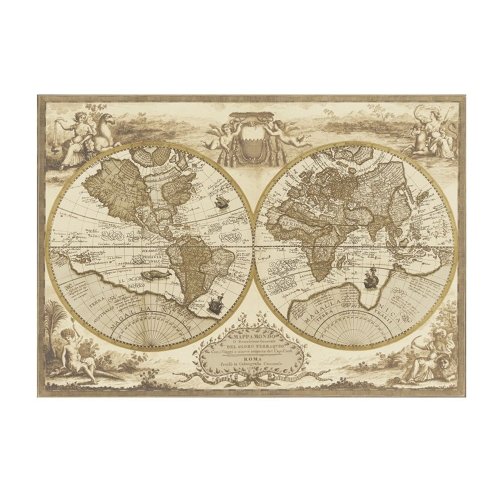Wall Sticker Retro World Map Vintage Nautical Map Decalque de parede removível Antique Home Decor for Bedroom / Living Room / Hall / Office