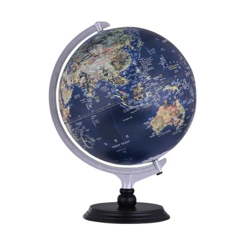 USB 2 em 1 LED Desktop World Globe Tellurion Vista diurna Imagem de satélite Vista noturna Mapa político iluminado com suporte para escritório Decoração para casa Estudante escolar Acessório educacional