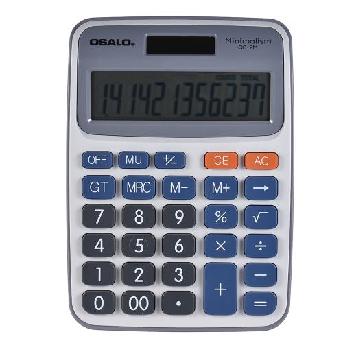Calculadora eletrônica de desktop de função padrão 12 dígitos Display grande Solar e bateria Fonte de alimentação dupla para empresas de escritório em escolas