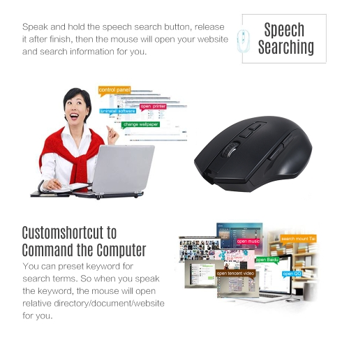 2.4G Wireless Smart Voice Mouse English Chinese Speech Translate/Type/Search with Enter Key 28 Target Languages for Windows 7/8/10 Computer Laptop