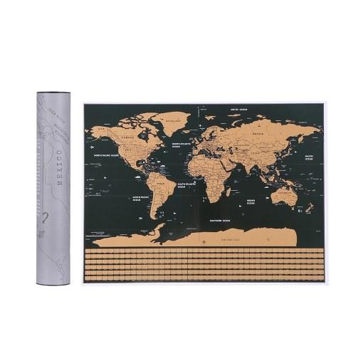Scratch Off Weltreisen Karte Poster Kupferfolie Wandaufkleber Personalisierte Journal Log Klein mit Zylinder Verpackung