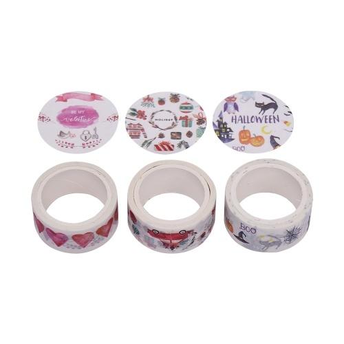 Zestaw 3 sztuk dekoracyjnego papieru do pakowania taśmy maskującej