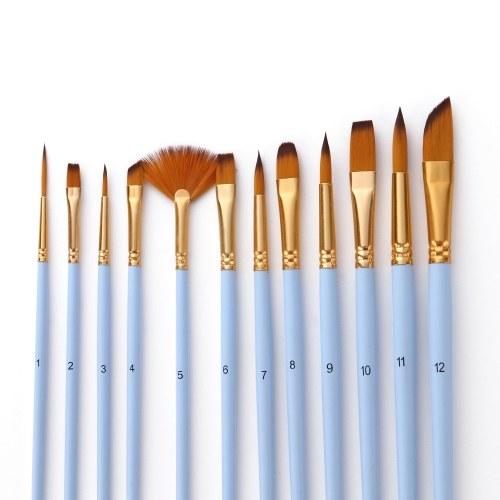 12Pcs Set di pennelli per dettagli fini Pennelli per capelli Taklon a doppio colore per pittura ad acquerello a olio acrilico in miniatura Kit da disegno per artisti principianti