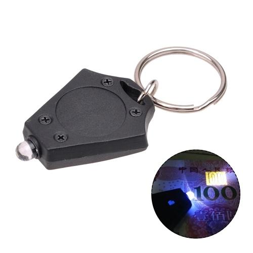 Mini portátil 365-370NM LED tocha luz UV chaveiro bolso lanterna