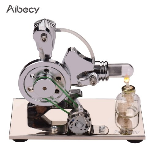Aibecy Hot Air Stirling Engine Motor Model kit Aluminum Alloy Squirrel-shaped Electricity Generator with Colorful LED Light Educational Toy Lab Science Experiment Teaching Aids Gift for Teacher Student Children Adult