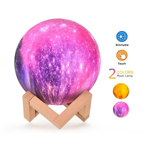 Creative Moon Lamp 3D Printed Starry Lamp LED Night Light Touch Control 15cm/ 5.9in with Stand for Children Girls Birthday Thanksgiving Christmas Gifts