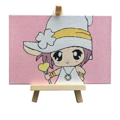 Dipinto immagine fai-da-te con numeri Kit pittura a olio 5,9 * 3,9 pollici con pennello acrilico luminoso a pigmenti Cavalletto in legno Supporto per bambini Studenti Regalo per principianti