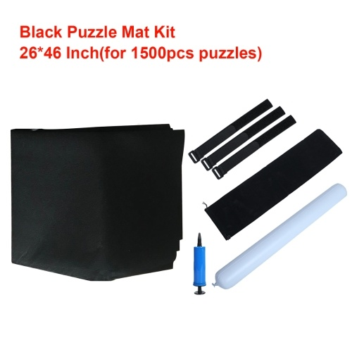 Puzzle Roll Up Mat Felt Storage Mat Puzzle Saver with Inflatable Tube + Mini Pump + 3 Fasteners + Drawstring Storage Bag for Children Adults for 1500 Pieces Puzzles