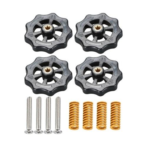 Aibecy 4 pezzi dado di livellamento a torsione manuale aggiornato diametro 40 mm + 4 pezzi di stampo a compressione per letto riscaldato