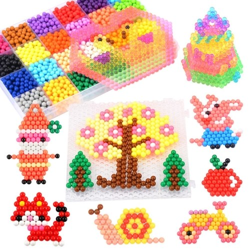 10 Colors Water Fuse Beads Kit Water Sticky Beads DIY Art Crafts Toy with Pegboards and Accessories for Kids Beginners