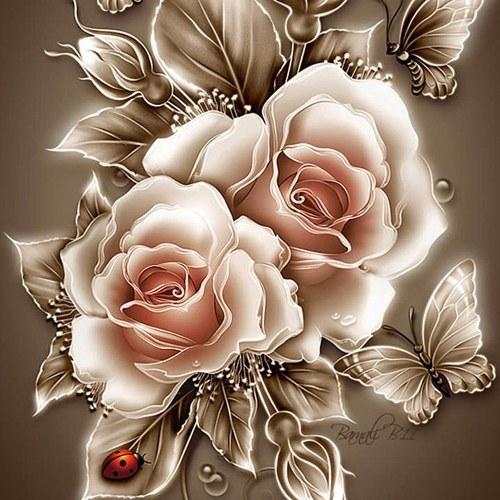 DIY 5D Diamond Painting Kit Retro Rose Flower Pattern