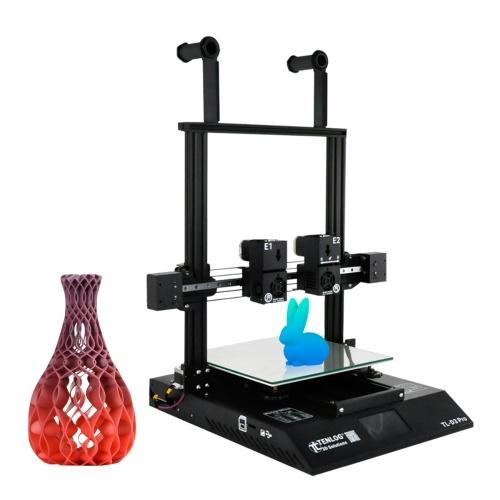 Impresora 3D TENLOG TL-D3 Pro Extrusor doble independiente Doble eje Z con pantalla táctil Soporte Detección de agotamiento del filamento Reanudar Función de impresión Gran volumen de construcción 300 * 300 * 350 mm