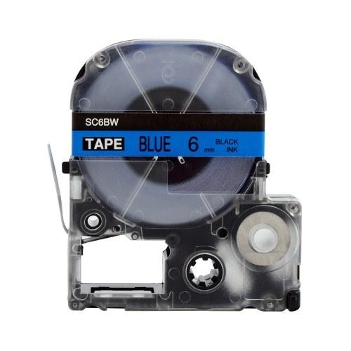 Nastro per etichette autoadesivo PUTY 5 rotoli Nastro per etichettatrice di ricambio nero su blu 0,24 pollici (6 mm) x 26,2 piedi (8 m) Impermeabile e resistente all'olio Compatibile con la stampante per etichette KINGJIM SR230CH / SR230C / SR530C / SR550C / SR3900C