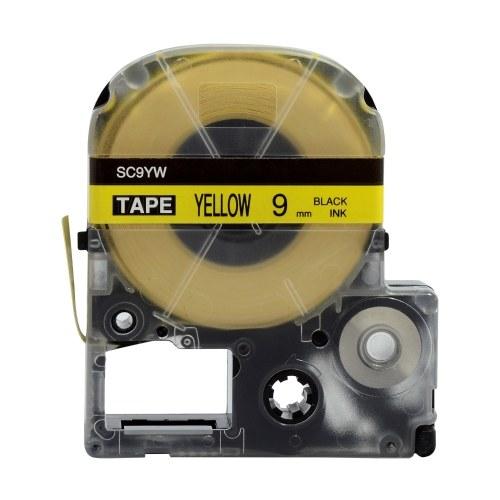 PUTY 5 рулонов самоклеящейся ленты для этикеток Сменная лента для изготовления этикеток Черный на желтом 0,35 дюйма (9 мм) x 26,2 фута (8 м) Водонепроницаемость и маслостойкость Совместимость с принтером этикеток KINGJIM SR230CH / SR230C / SR530C / SR550C / SR3900C