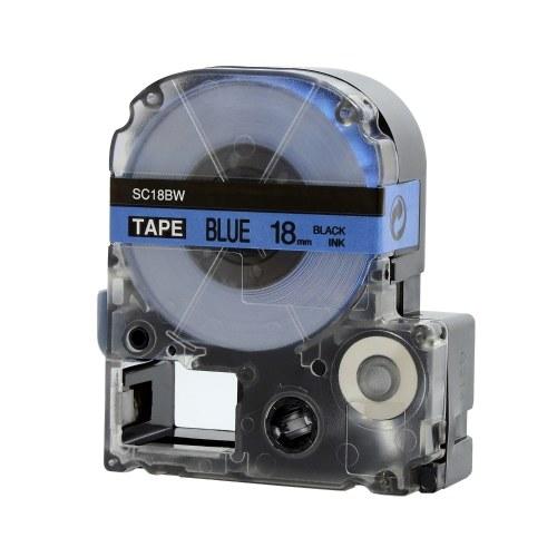 Nastro per etichette autoadesivo PUTY 5 rotoli Nastro per etichette di ricambio nero su blu 18 mm x 26,2 piedi (8 m) Impermeabile e resistente all'olio Compatibile con la stampante di etichette KINGJIM SR230CH / SR230C / SR530C / SR550C / SR3900C