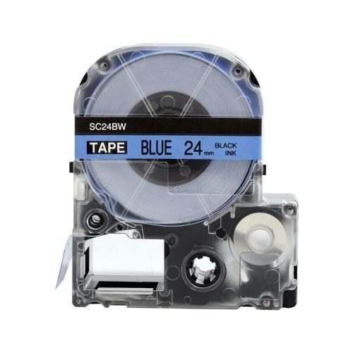 PUTY 5 Rollen Selbstklebendes Etikettenband Ersatzetikettenband Schwarz auf Blau 0,94 Zoll (24 mm) x26,2 Fuß (8 m) Wasserdicht und öldicht Kompatibel mit KINGJIM SR230CH / SR230C / SR530C / SR550C / SR3900C Etikettendrucker